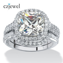 Victoria Wieck Shining 8mm AAA Zircon White Gold Color With Full Tini Stone 3-in-1 Engagement Wedding Ring Set