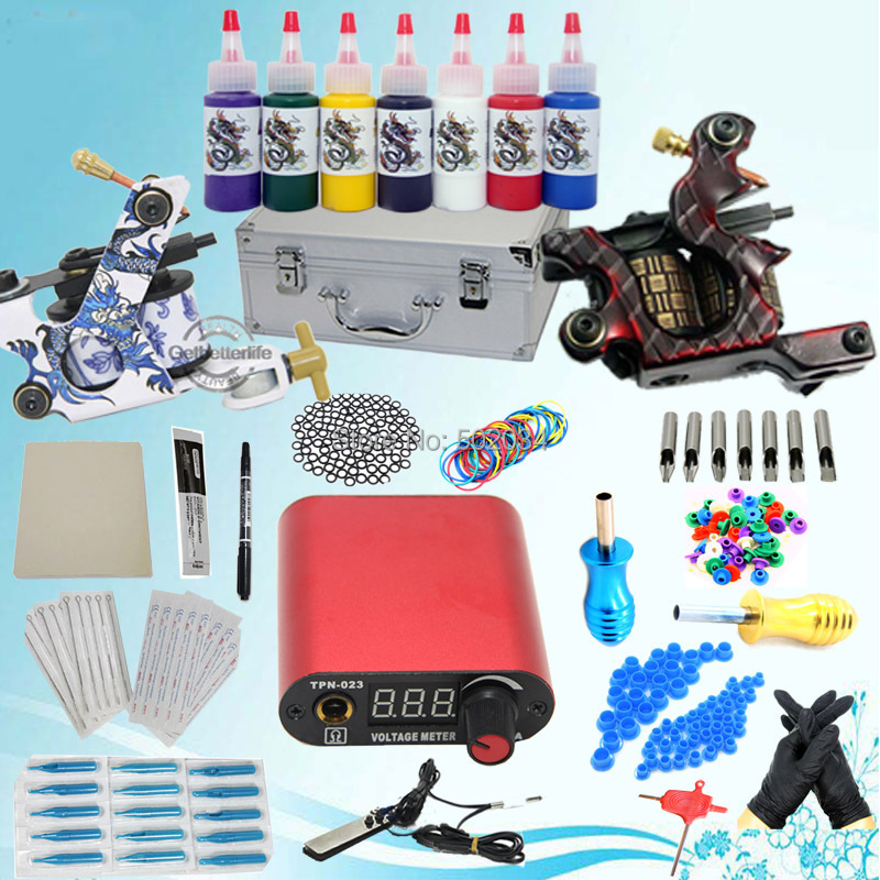 USA Storage Complete Beginner tattoo kit set 2 tattoo machine guns 7 inks LCD power needles Tips grips Equipment Set Supply starter tattoo kit 40 inks 2 machine guns grips needles tips power set equipment supplies for beginners usa warehouse k201i1