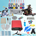 USA Storage Complete Beginner tattoo kit set 2 tattoo machine guns 7 inks LCD power needles Tips grips Equipment Set Supply