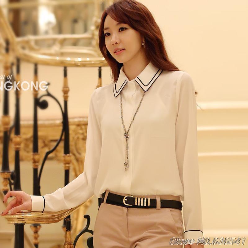 Livraison gratuite en gros Spot Hitz femmes coréennes tenue décontracté lâche dentelle mousseline de soie Blouse S/M/L/XL/XXL