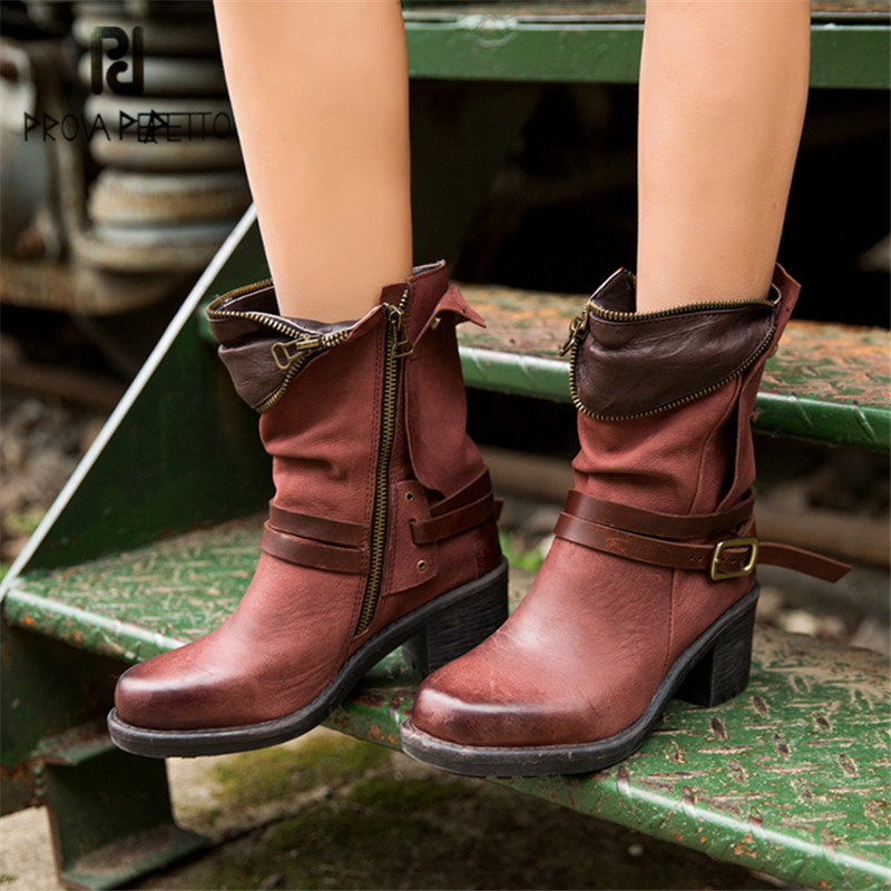 Prova Perfetto Fashion Women Ankle Boots 6CM Chunky High Heel Martin Boots Belt Buckle Botas Mujer Genuine Leather Platform Shoe prova perfetto british style elegant sheep genuine leather ankle buckle hollow out flower boots back strap chunky high heel boot
