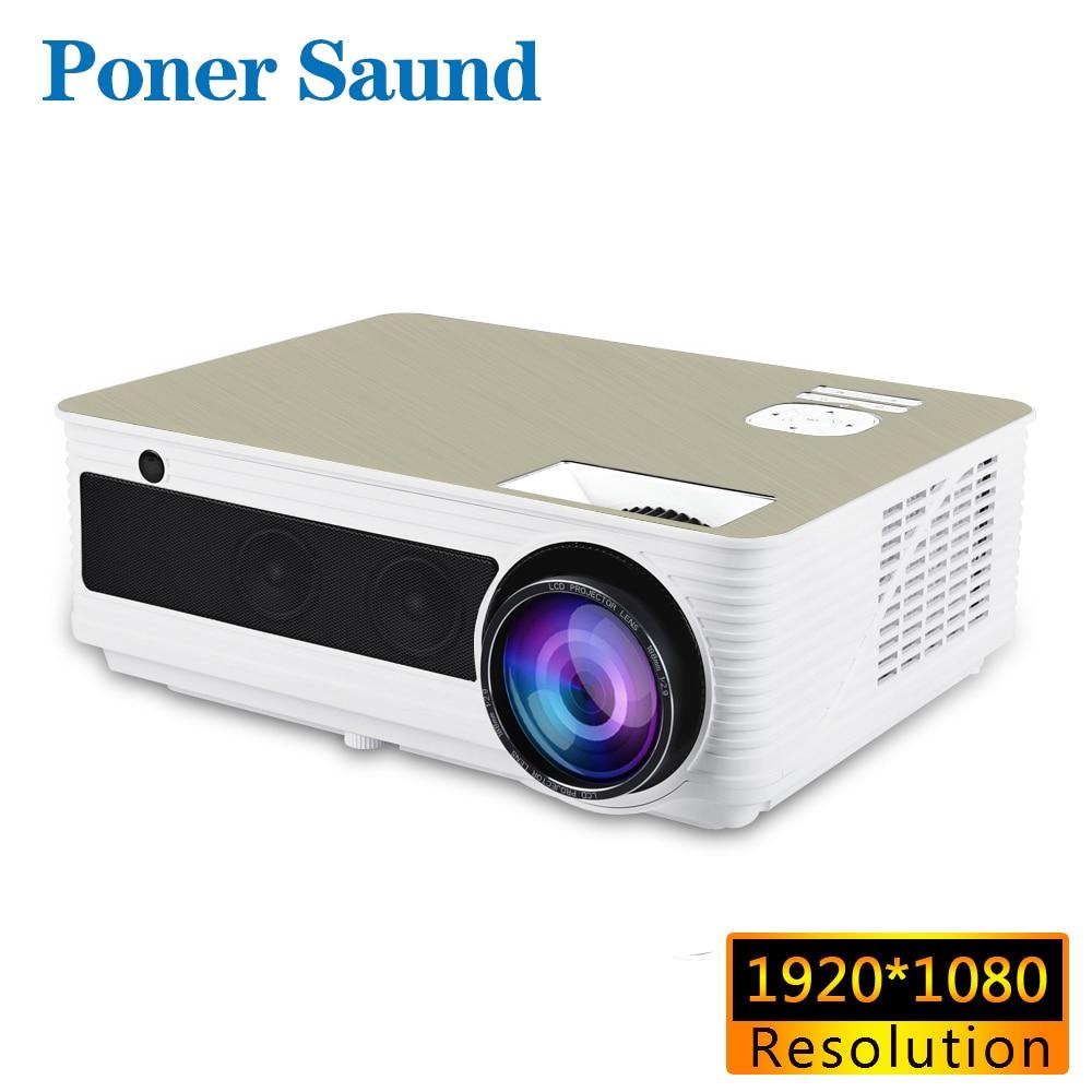 Poner Saund M5 1920*1080 P Full HD Proiettore 200 pollici Dello Schermo di Android 6.0 Beamer WiFi HA CONDOTTO il Proiettore HDMI USB Porta VGA Altoparlanti * 2