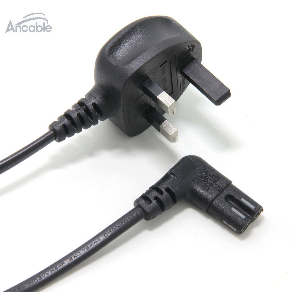 Ancable 1m Power Cable Uk 3 Pin Plug To Right Angled 90