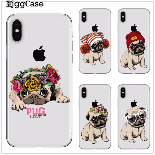 buy popular 28e88 eaf2c US $0.92 34% OFF|Soft Phone Case For iphone 6 Case Cute Cartoon Dog Protect  Back Cover For iphone X 5 5S SE 6 6S 7 8 Plus Coque Capa Puppy Pug-in ...