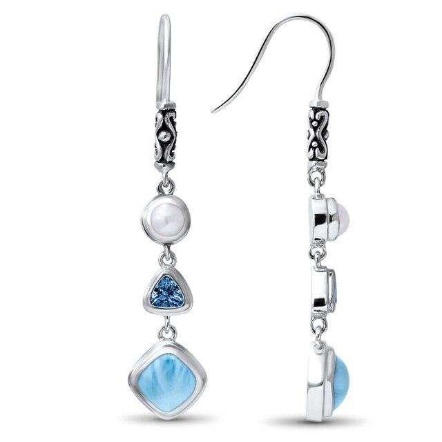 Fine Jewelry Natural Handmade Larimar Earrings5