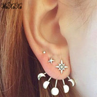 Lotus Simple Flower Stud Earrings For Women Girl Elegant Double Sided Earrings Girls Vintage Fashion Earring Jewelry