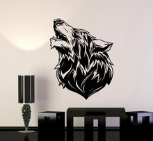 Vinyl wall applique wolf head tribe loneliness  animal forest beast sticker, home living room fashion decorative applique  DW04 printio loneliness