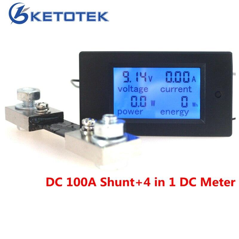 DC 6.5-100V 100A 4 in 1 Digital DC Voltmeter Ammeter Watt Energy Meter with DC 50A/75mV Shunt LCD Display Voltage Current Tester dc 100a analog ammeter panel amp current meter 85c1 gauge 0 100a dc shunt