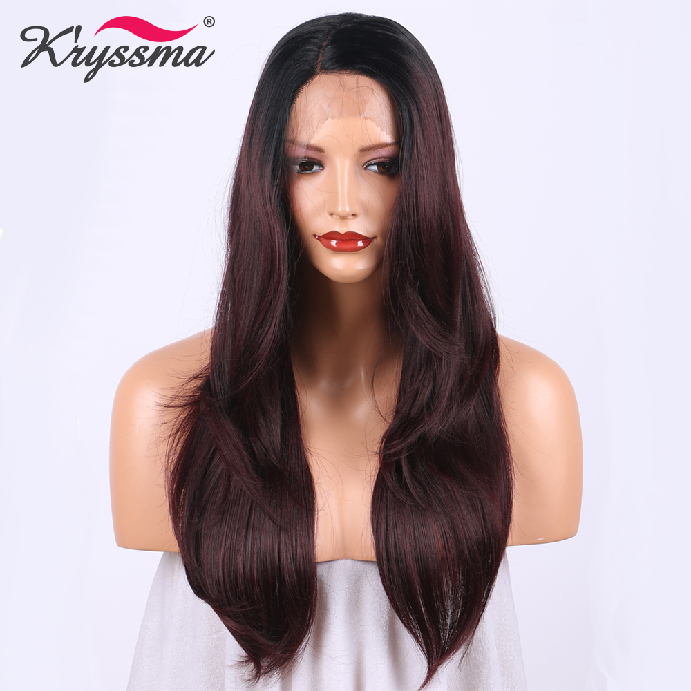 Burgundy Synthetic Lace Front Wig for Women Red Wine Long straight Ombre Wig with Dark R ...