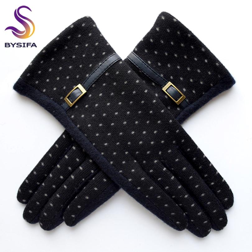 [BYSIFA] Navy blue Wool Mittens Gloves T