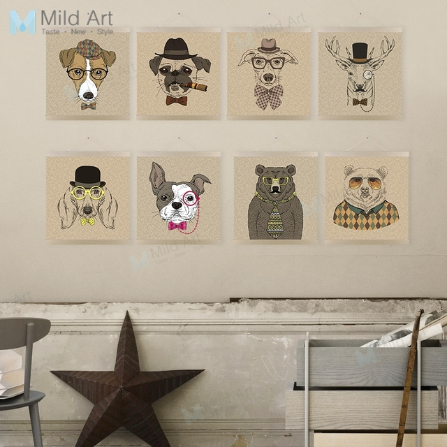 Us 10 08 47 Off Vintage Retro Hipster Animal Head Deer Dog Wooden Framed Posters Living Room Wall Art Pictures Home Decor Canvas Painting Scroll In