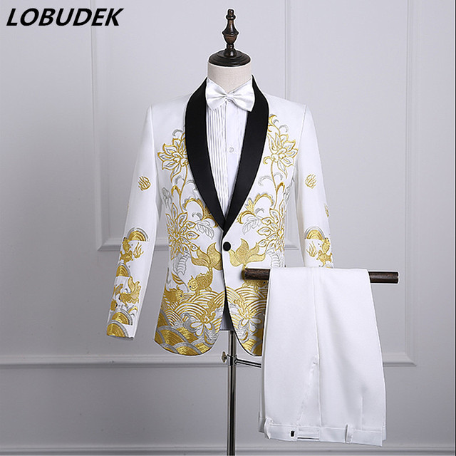 Male Performance Suits singer Host wedding performance clothes Formal Prom  Stage chorus Costumes white Embroidery slim 155264c06094