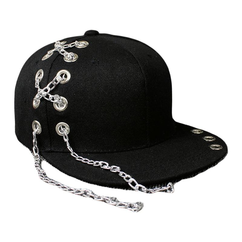 Black Metal Ring Iron  Baseball Caps Snapback Adjustable Casual Punk Hats Rock Style Chain Hip Hop Cap Shade Hats bts v fashion k pop punk iron hole hats adjustable baseball cap