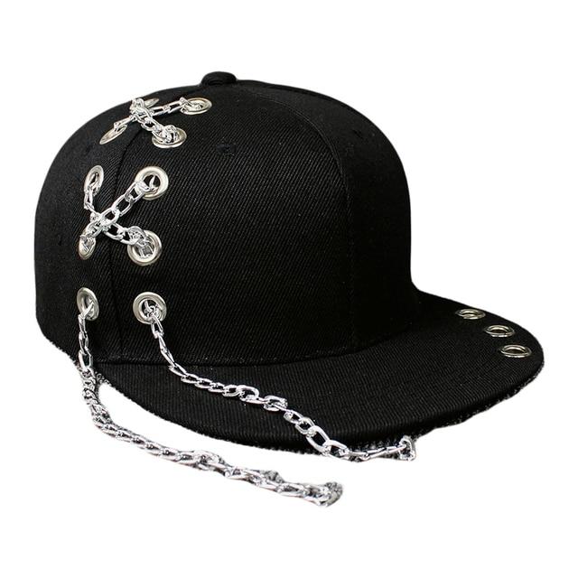 f04d8b0c45c Black Metal Ring Iron Baseball Caps Snapback Adjustable Casual Punk Hats  Rock Style Chain Hip Hop