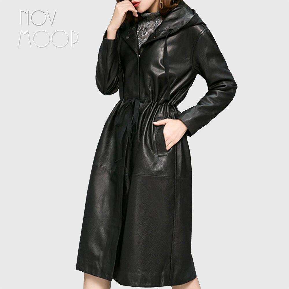 Women black real lambskin pebbled leather long trench coat hooded tie waist outwear windbreaker casaco feminino