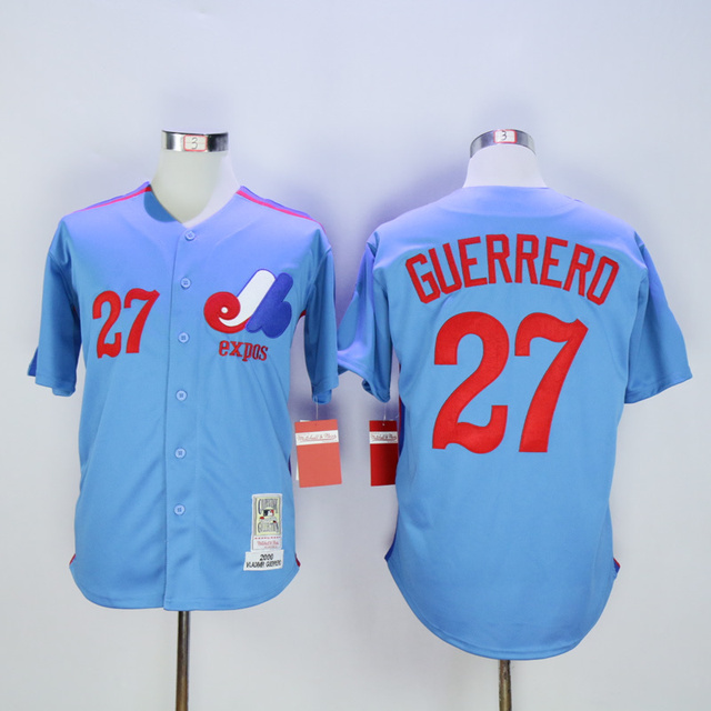 super popular 5f2d1 7a064 Montreal Expos 27 Vladimir Guerrero Blue 2000 throwback jersey Authentic  Baseball Jerseys Cheap Jerseys Embroidery-in Baseball Jerseys from Sports &  ...