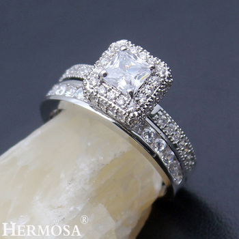 Hermosa Women Wedding Rings Zircon 1 Pair Rings Engagement Anniversary Jewelry Bridal Bands Ring Size 8#