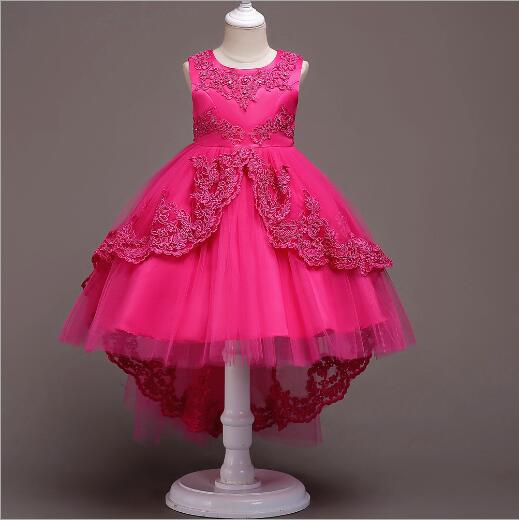 Upscale Princess Dress Kids Embroidery Tailing Party Dresses for Girls party wedding Prom Costumes Children Bow lace Dress girls tulle tailing embroidery lace bow dress for wedding birthday party manual nail bead frocks costumes size 4 6 8 10 12 years
