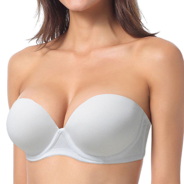3b7f983098a35 YANDW Sexy Wedding Multiway Underwear Add 2 Cup Super Padded Push Up Bra  White Black Strapless Bras Size 32 34 36 38 40 A B C D