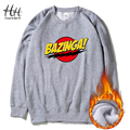 HanHent Fashion Bazinga Men Sweatshirts  Round Collar Fleece Autumn Winter Thick Pullover Clothing The Big Bang Theory Hoodies