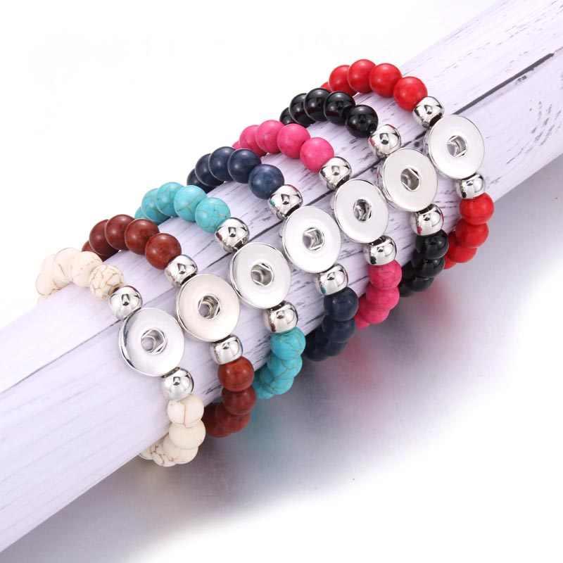 Snap biżuteria męska bransoletka wykonane ręcznie wyszywane koralikami Snap bransoletki Fit 18mm Snap przycisk biżuteryjny kamień naturalny bransoletka z koralików bransoletki