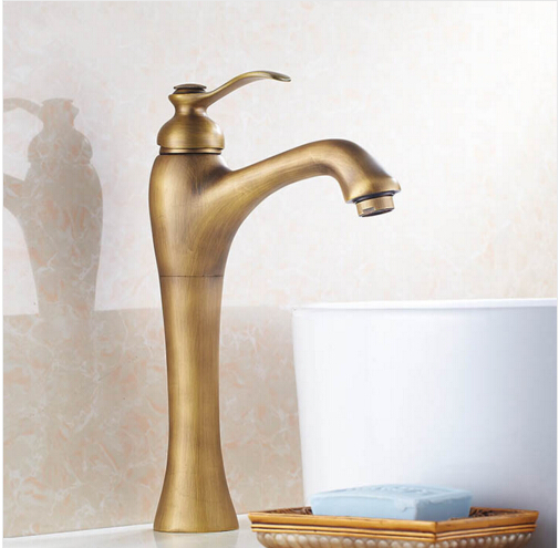 ФОТО Vintage Style tall antique basin faucet brass bathroom sink mixer wash basin taps with single handle 360 degree swivel spout