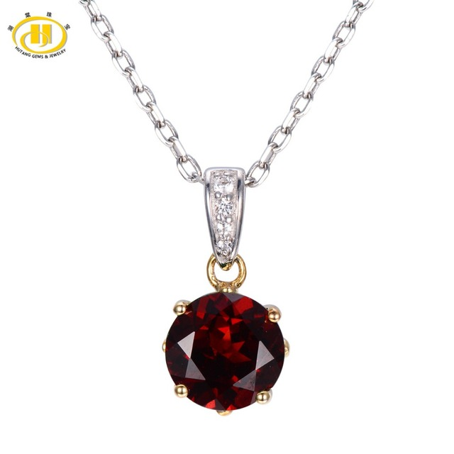 Hutang 2.44ct Natural Garnet & Topaz Solid 925 Sterling Silver Pendant Necklace Round 8mm Gemstone Fine Jewelry Xmas Gift 11.11