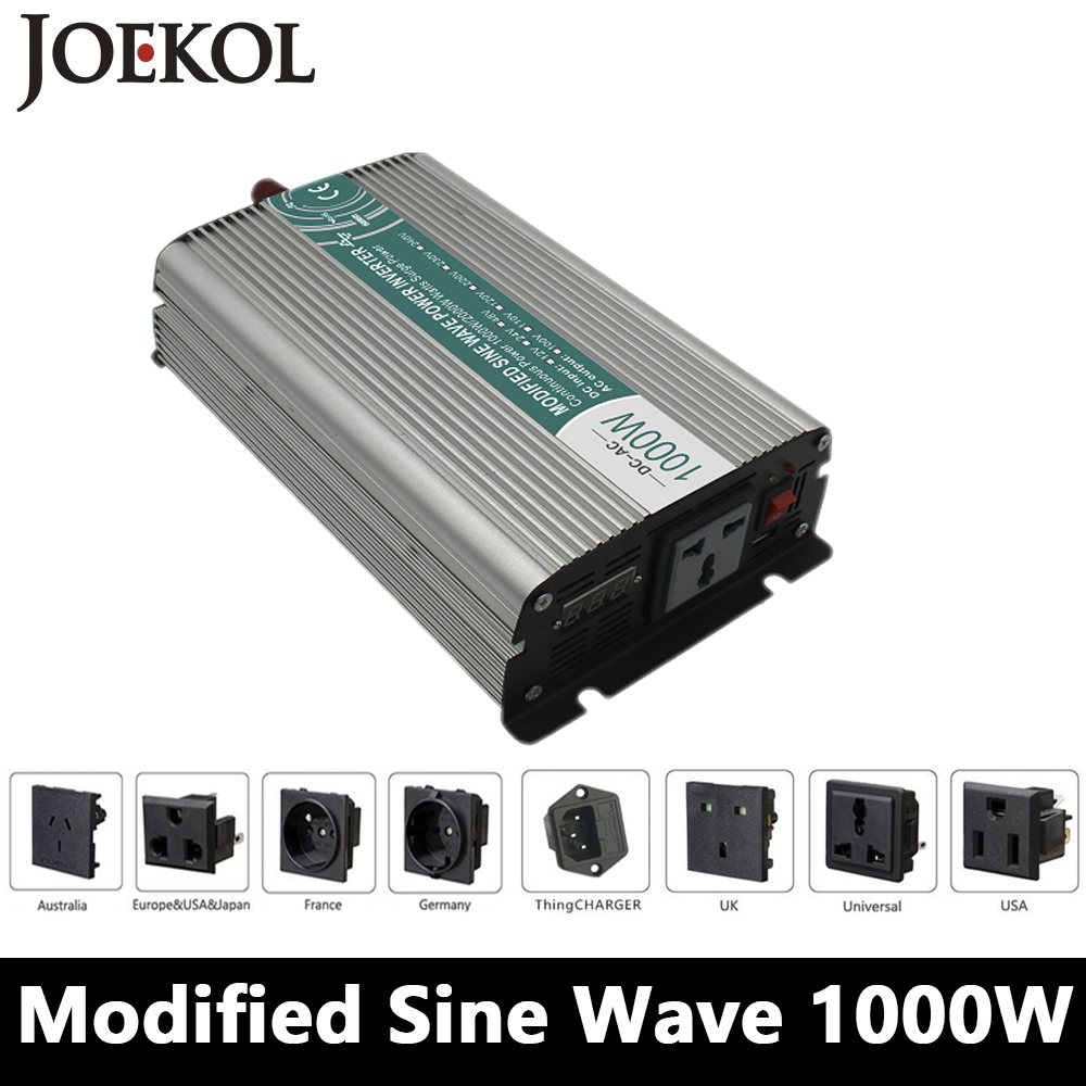 1000W Modified Sine Wave Inverter,DC 12V/24V/48V To AC 110V/220V,off Grid Solar Power Inverter,voltage Converter For Home maylar 22 60vdc 300w dc to ac solar grid tie power inverter output 90 260vac 50hz 60hz