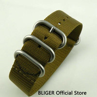 BLIGER 22MM 1PCS Green Nylon Strap Stainless Steel Buckle Nato Strap Fit For Men's Watch Canvas Watch Band ST007