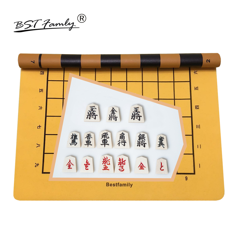 BSTFAMLY Wooden Japan Shogi 40 Pcs/Set Checkers Folding Leather Board Sho-gi Chess Game Table Toy Gift for Children Adults J05 foldable magnetic folding shogi set boxed portable japanese chess game sho gi exercise logical thinking 25 25 2 cm
