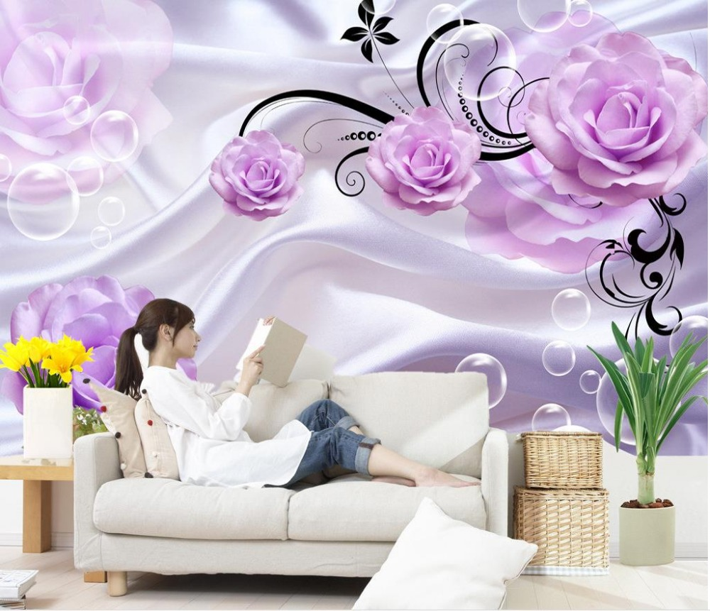 Purple rose 3d tv backdrop custom 3d mural wallpaper tv backdrop purple rose 3d tv backdrop custom 3d mural wallpaper tv backdrop 3d flower wallpaper home decoration in wallpapers from home improvement on aliexpress voltagebd Image collections