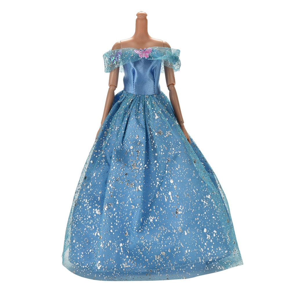 High Quality Blue Party Doll Dress Flowers Clothes Gown For Barbie evening wedding dress party dress 1pcs high quality 1x wedding party dress lace gown evening party princess skirt 1x veil clothes for barbie doll accessories kid toy