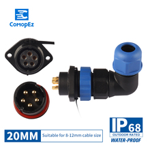 цена на Waterproof Connector SP20 Type IP68 Cable Connector Plug & Socket Male And Female 2/3/4/5/7/9/10/12/14 Pin SD20 20mm Elbow Squar
