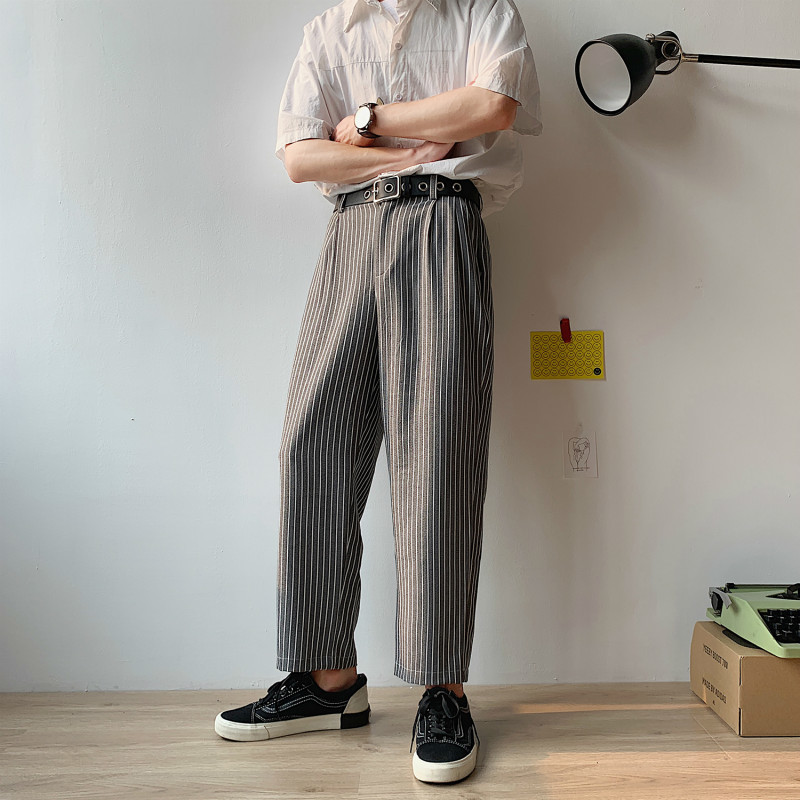 2019 Real Directly Canister Stripe Nine Part Leisure Western style Trousers joggers hip hop sweatpants Thin Chinese Style Black