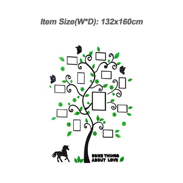 3D Acrylic Photo Frame Tree Wall Sticker Living Room Bedroom Wall Decals Poster DIY Family Home Decoration Wallpaper Drop ship