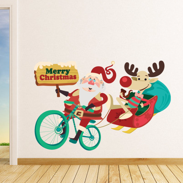Christmas Father Bicycling Illustration Wall Stickers