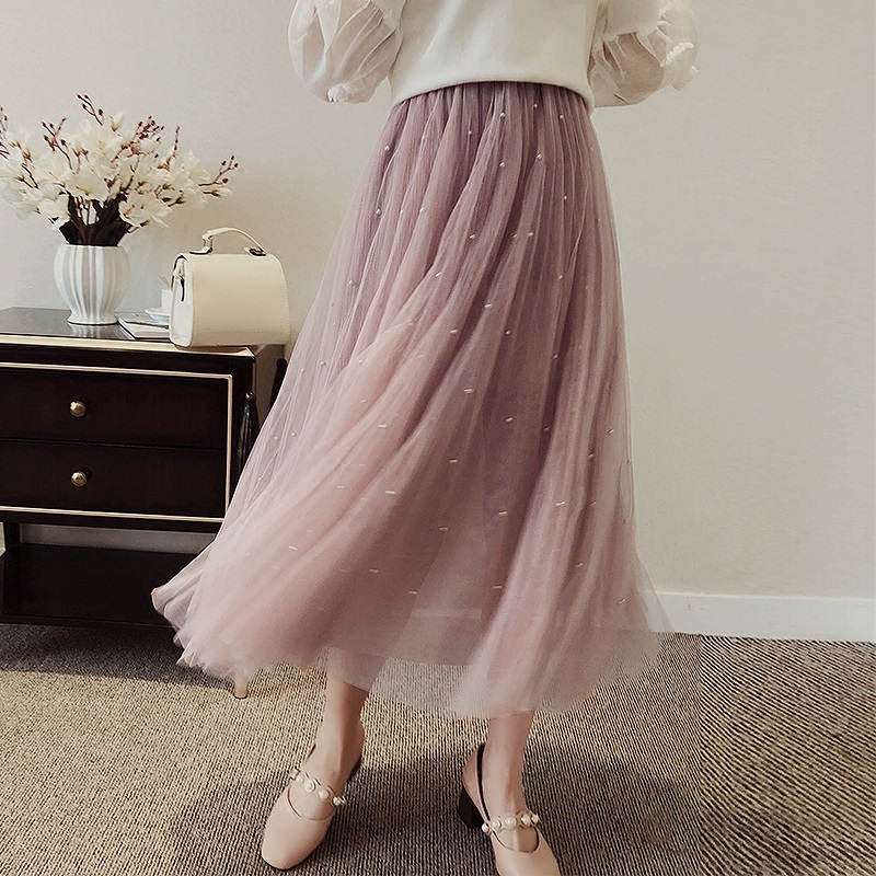 Pearl Beading Mesh Skirt 2018 Sweet layered Mesh Skirt Summer Elastic Waist A-Line Layered Tulle Skirts High Waist Women Skirt