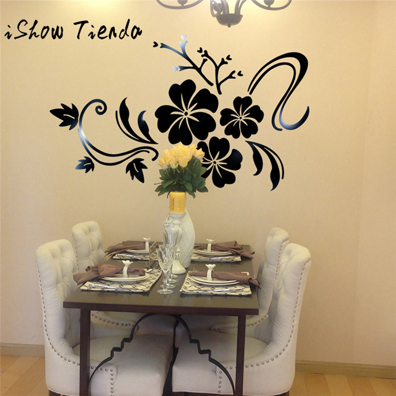 3D Mirror Floral Art Removable Wall Sticker Acrylic Mural Decal Home ...
