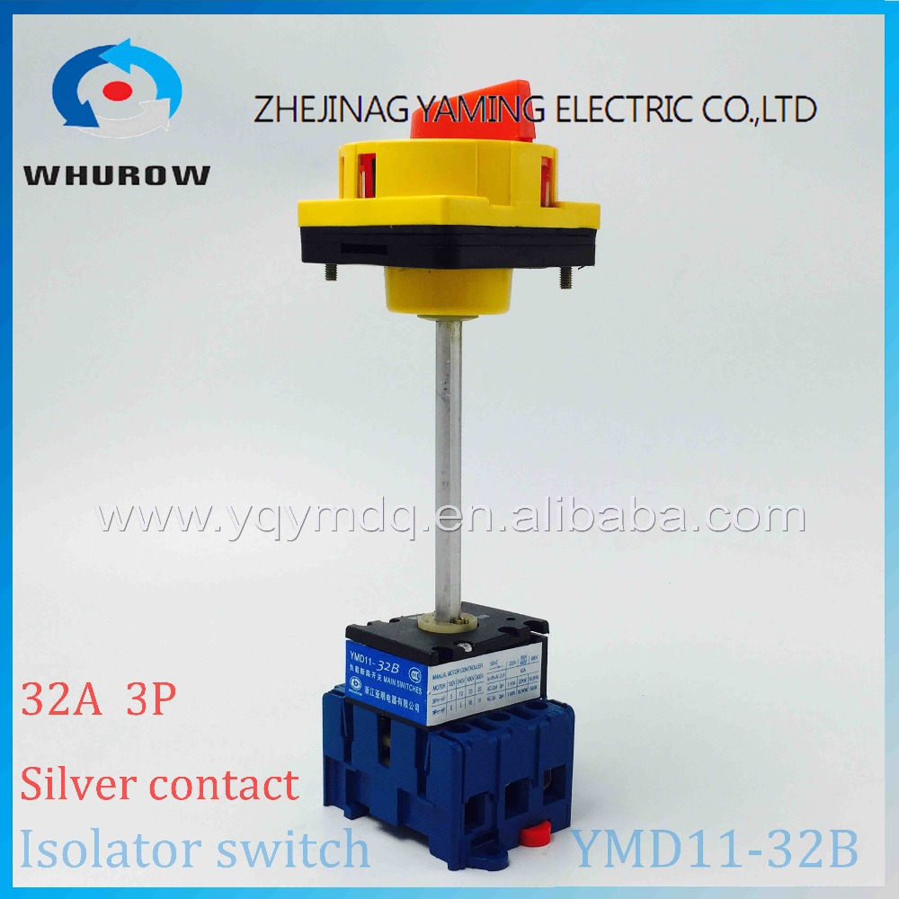 Isolating switch YMD11-32B with padlock handle aluminum pole 32A Load break power cut off operation outside electrical cabinet 500vac 16a 2 pole disconnect isolating switch fuse type