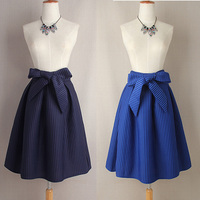 2015 Vintage Woman Ball Gown Skirts Retro 5 Colors Bowknot High Waist Striped Midi Skirts Knee