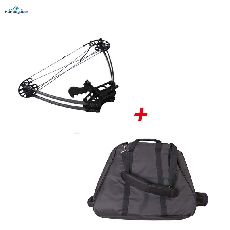 a fixed 50lbs black archery hunting triangle compound bow+foldable bow bag LH or RH compound bow 50lbs foldable hunting take down bow for outdoor shooting practice sports lh or rh archery aluminum straight bow