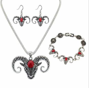 Poem snow Taurus Head Set Chain Animal Necklace Earrings Jewelry Set