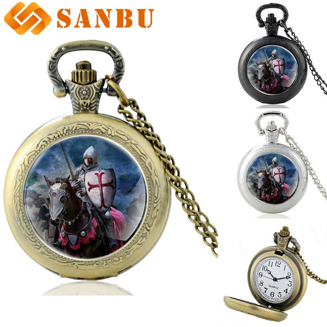 Vintage Knight Templar Pocket Watch Retro Men Women Bronze Quartz Pendant Neckla