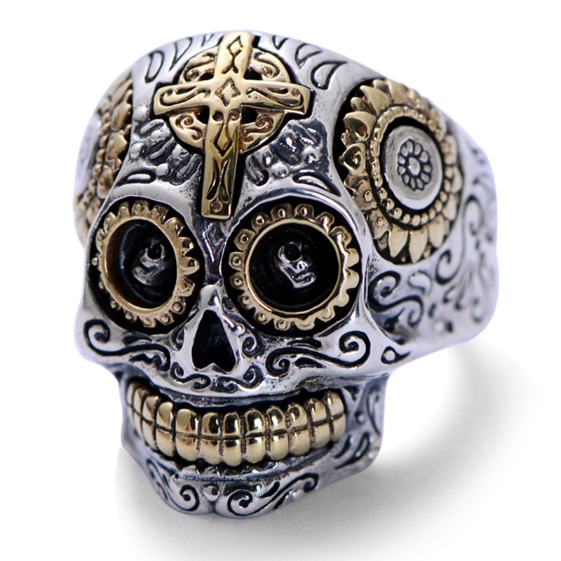Real Solid 925 Sterling Silver Skull Rings For Men Retro Pure Gold Color Cross And Sun