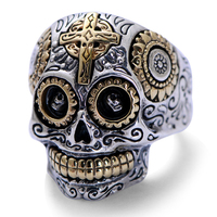 Real Solid 925 Sterling Silver Skull Rings For Men Retro Pure Gold Color Cross And Sun Fower Engraved Vintage Punk Jewelry