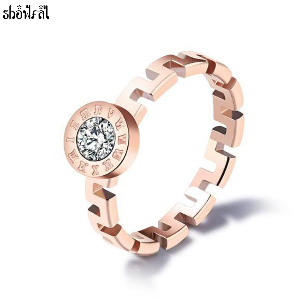Bulgaria Wedding Engagement Rings for Women Crystals From Swarovski Ring Rose Gold Vintage Great Wall Pattern Band Ring jewelry