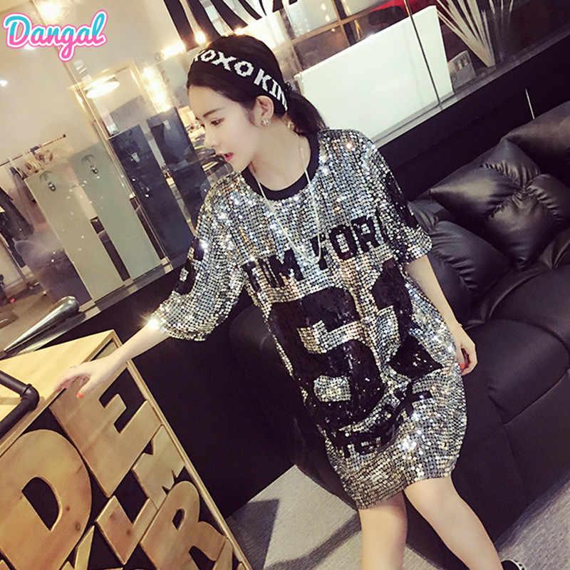 Dangal Fashion T shirt with Sequins Hip Hop Bling T-shirt Woman Summer T- 1705460bcb74