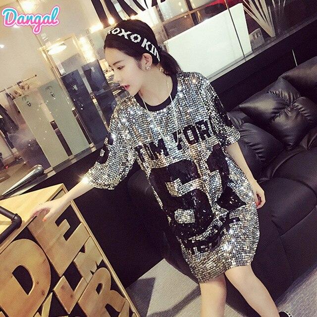 Camiseta de moda Dangal con lentejuelas Hip Hop Bling camiseta mujer verano camiseta  mujer calle camiseta 749739228b5
