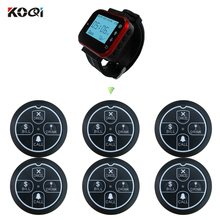 Wireless Call System 1 Receiver Watch Pager 6 Transmitter Call Button 433MHZ Restaurant Waiter Service High-efficiency 5pcs 433mhz white wireless restaurant call transmitter button pager for hotel hospital restaurant equipments f3274b