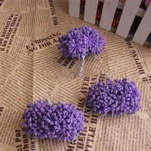 144PCS,Artificial Floral Foam PE Dried Lavender,Baby's Breath,Leek Flower,Scrapbooking,Wedding Decorations For Garland,Box Candy